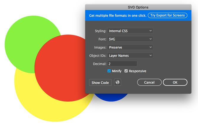 enregistrer en SVG