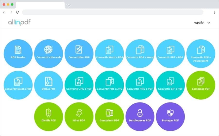 Allinpdf: outils gratuits pour travailler avec des documents PDF