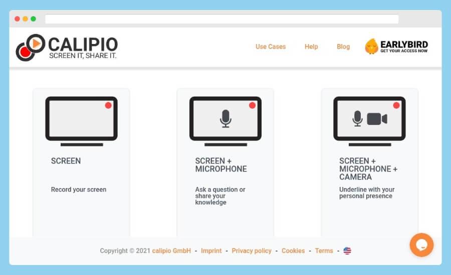 Enregistreur d'écran Calipio: enregistrez votre écran gratuitement depuis le navigateur