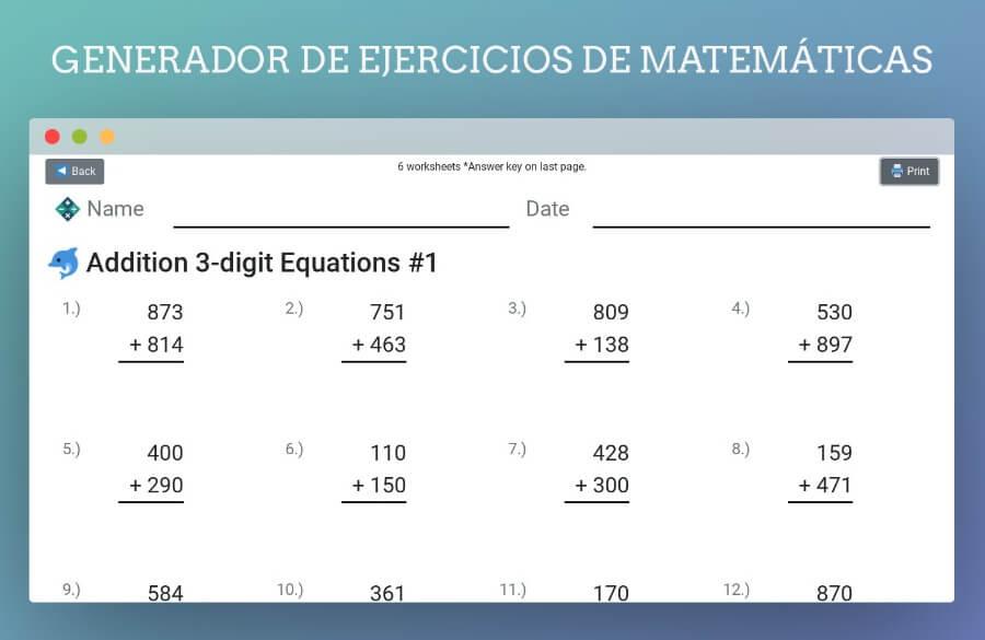 Math Homework Gen: Générateur de feuilles de calcul