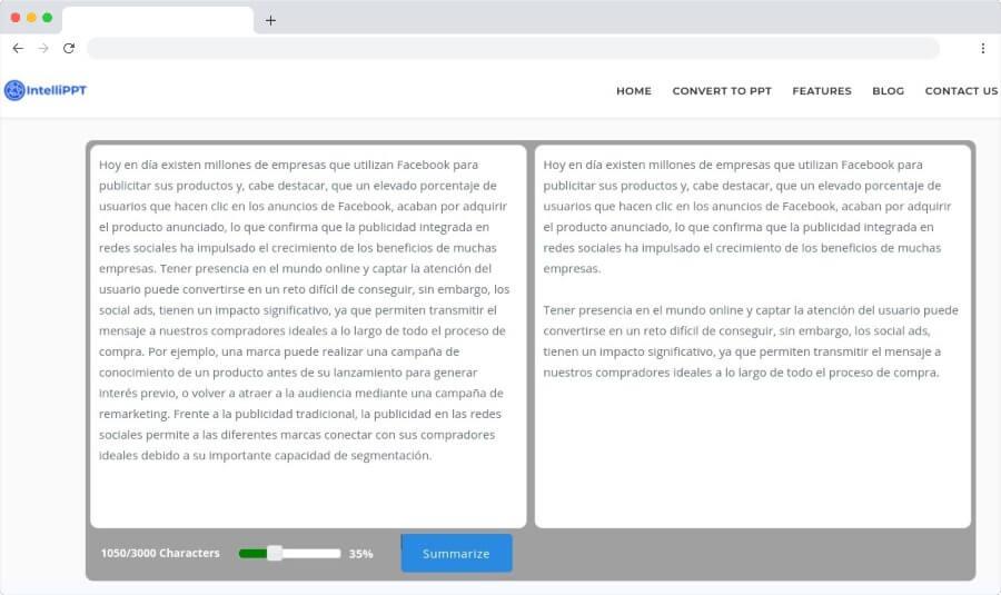 Intellippt: page gratuite pour résumer automatiquement les textes et articles