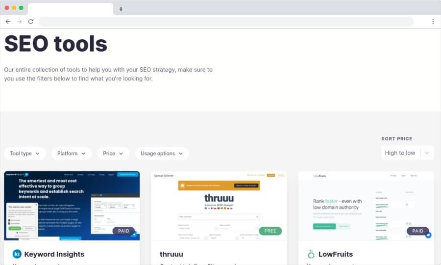 SEO Toolbelt: un annuaire pour trouver les meilleurs outils de référencement