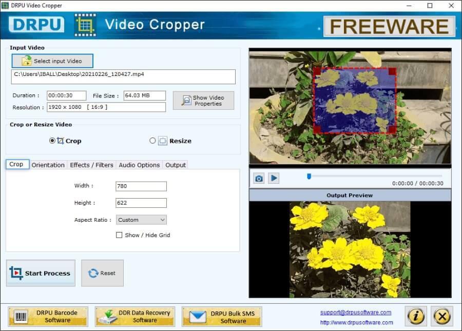 DRPU Video Cropper - Logiciel gratuit pour recadrer des vidéos et bien plus encore